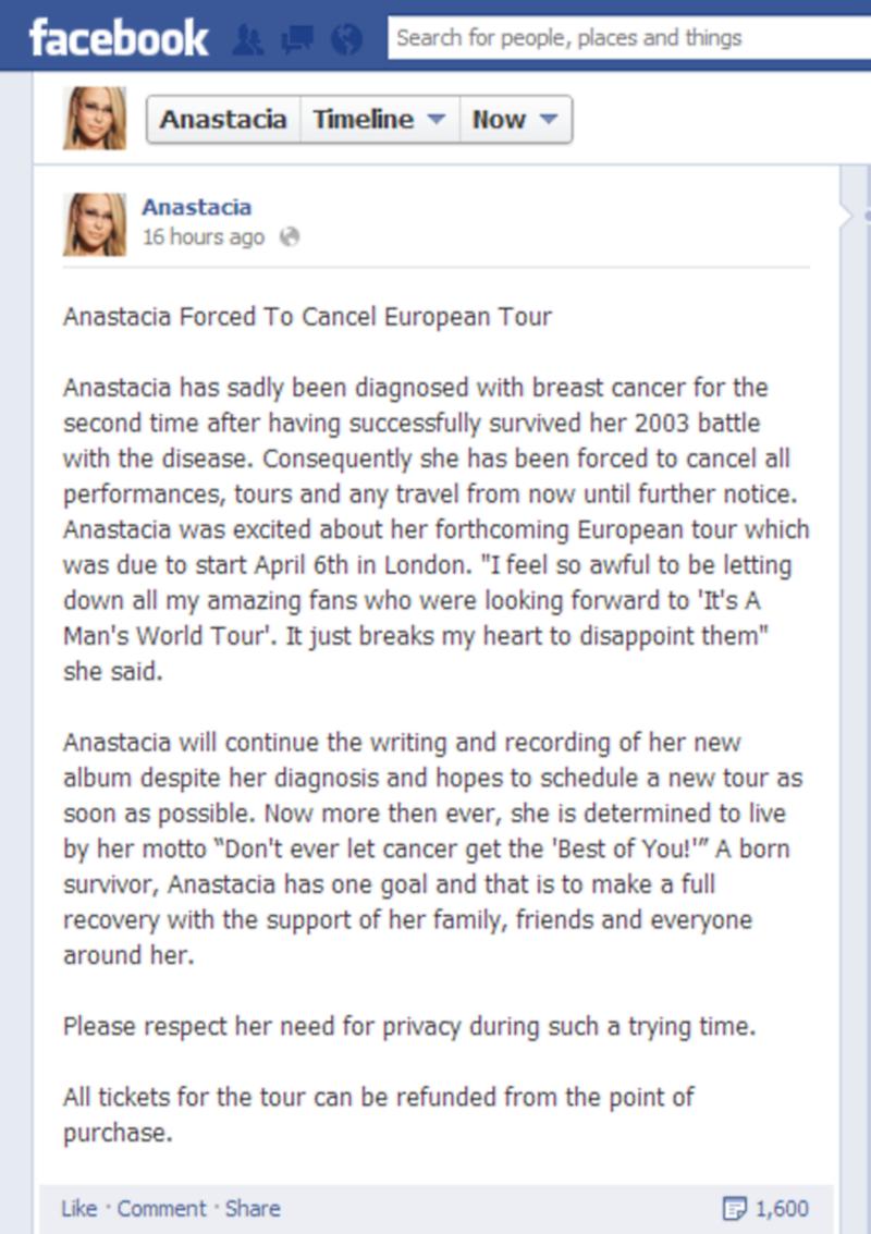 Anastacia Cancer