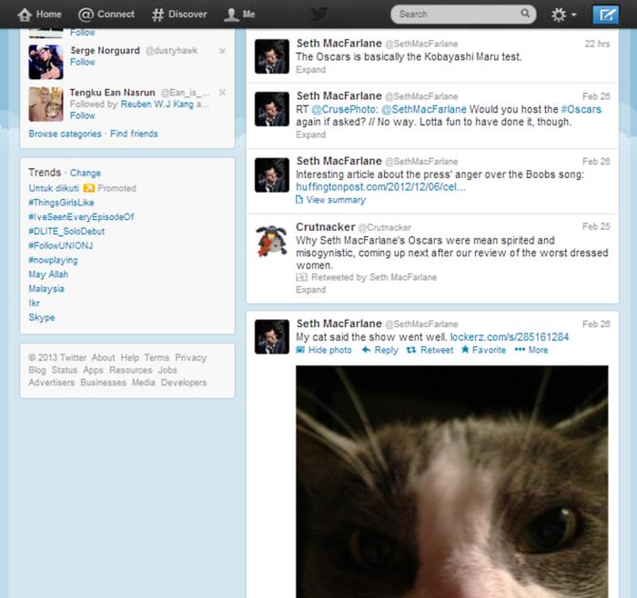 Seth MacFarlane Twitter
