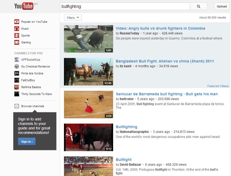 Bullfighting YouTube