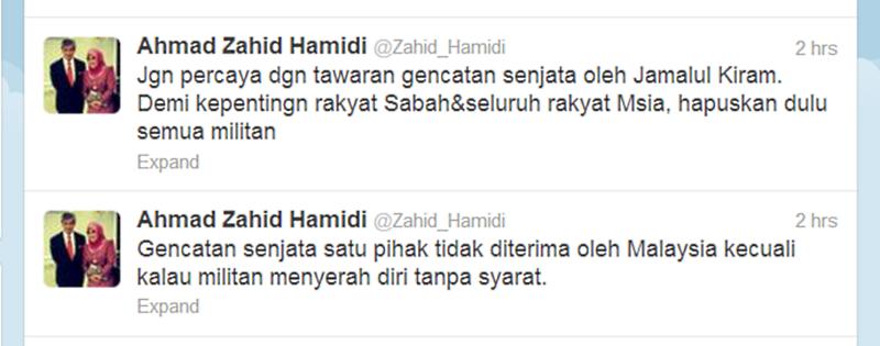 Defence Minister Ahmad Zahid Hamidi Twitter