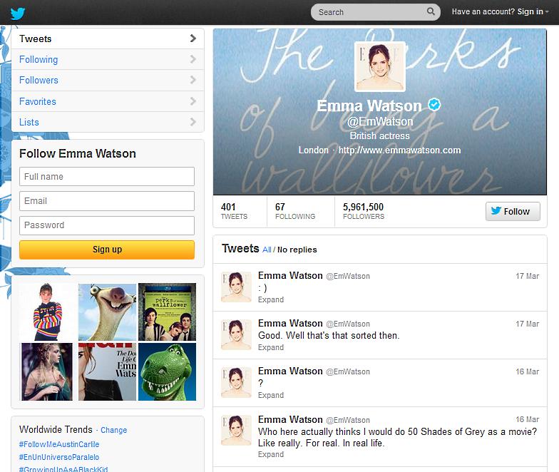 Emma Watson Fifty Shades of Grey