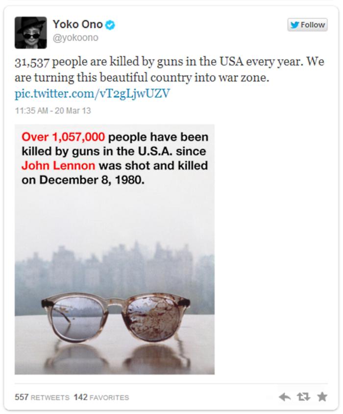 Yoko Ono John Lennon Bloodied Glasses Tweet 2