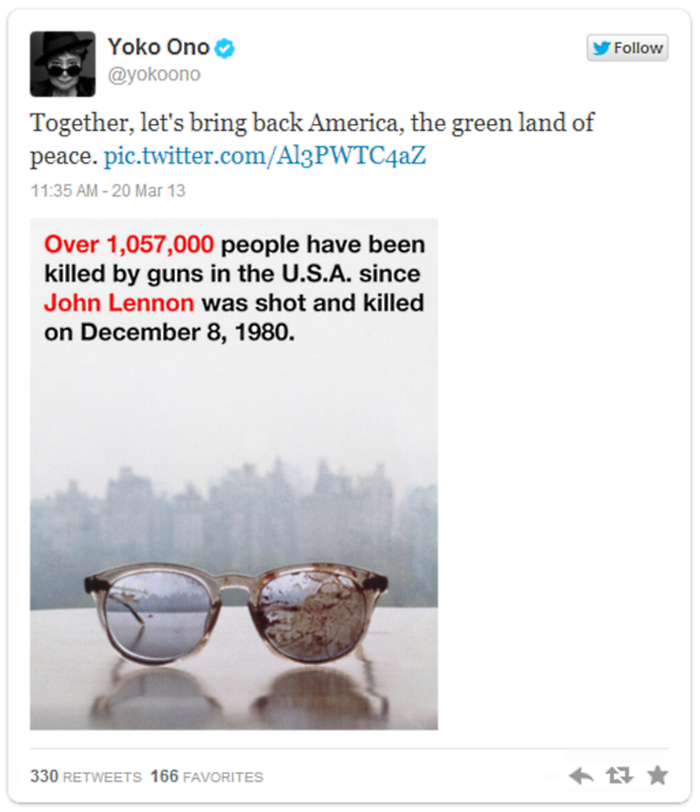 Yoko Ono John Lennon Bloodied Glasses Tweet 4