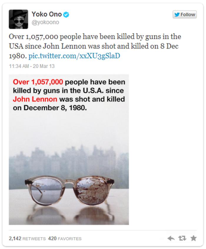 Yoko Ono John Lennon Bloodied Glasses Tweet