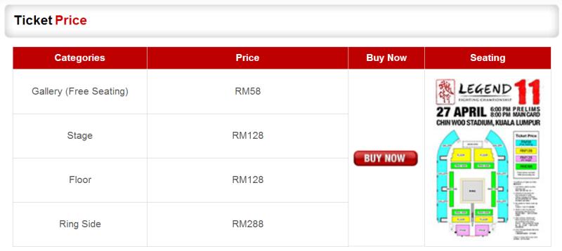 Legend Fighting Championship Malaysia Ticketing