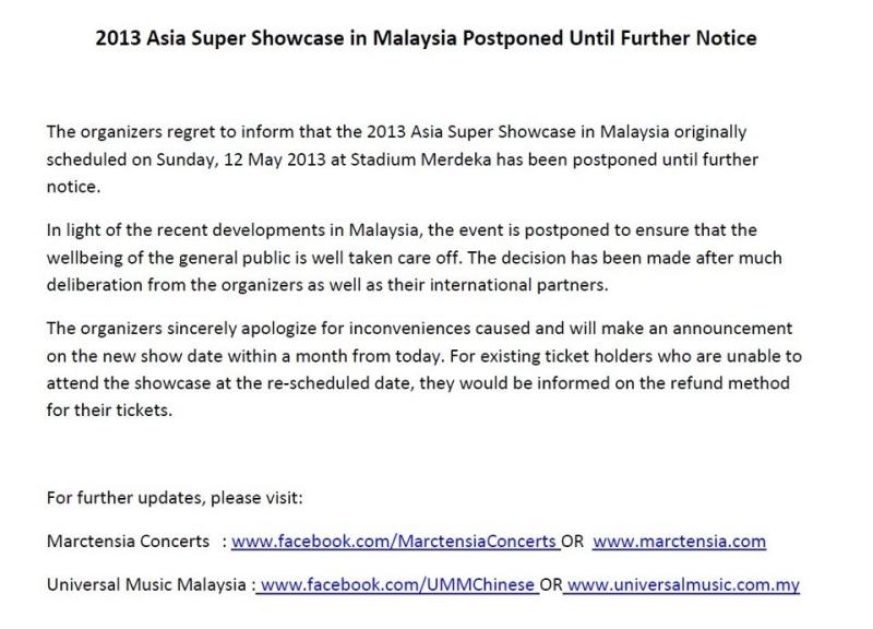 2013 Asia Super Showcase in Malaysia Postponed