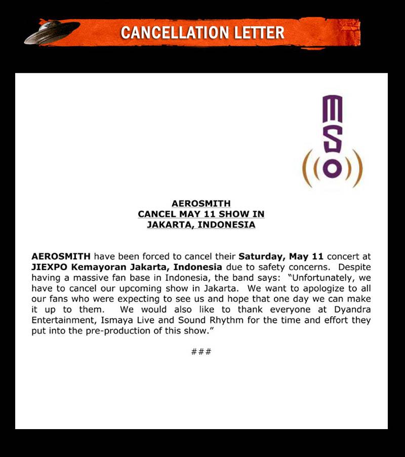 Aerosmith Jakarta Show Cancellation