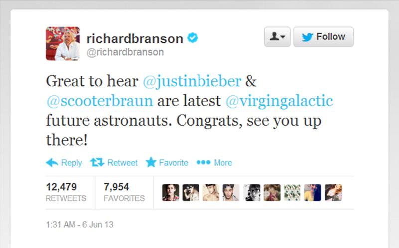 Richard Branson Justin Bieber