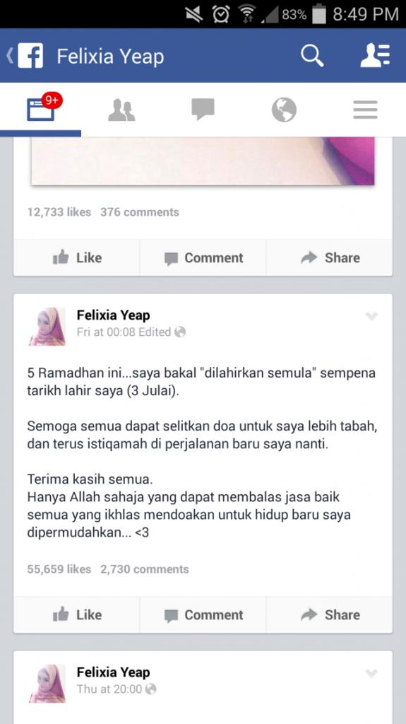 Felixia Yeap Facebook Page