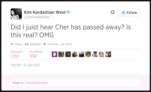 Kim Kardashian Cher Twitter Death Hoax