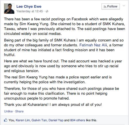 Lee Chye Ewe Facebook Sim Kwang Yung Sim