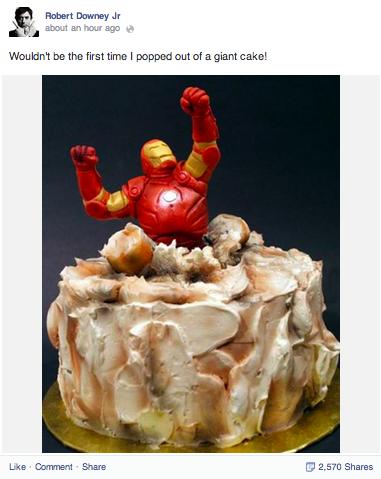 Robert Downey Jr Iron Man cake
