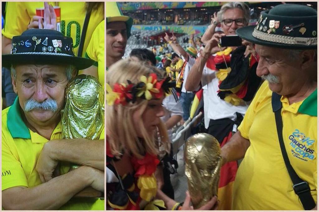 Sad Brazilian man trophy