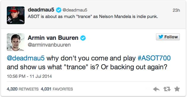 deadmau5 ASOT Armin van Buuren diss Twitter
