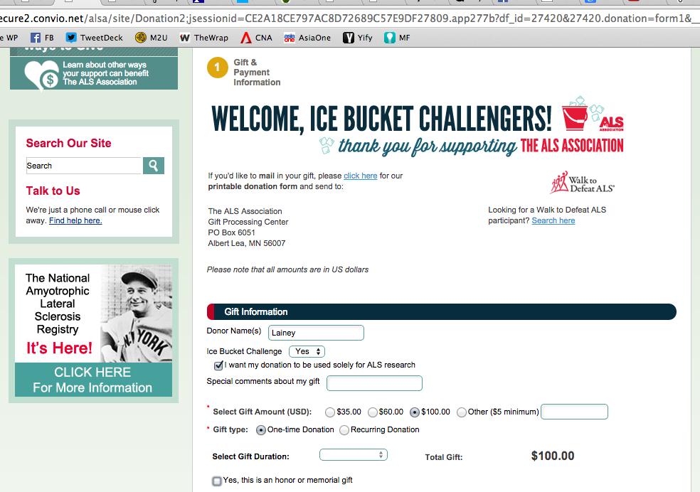 ALS Ice Bucket Challenge Donation