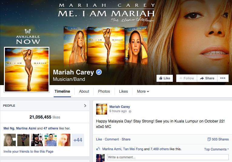 Mariah Carey Malaysia Day Facebook