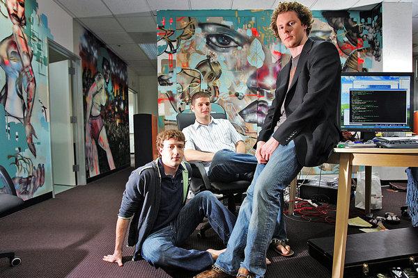 Sean Parker, Mark Zuckerberg, & Dustin Moskovitz in 2005. (Source: nytimes.com)