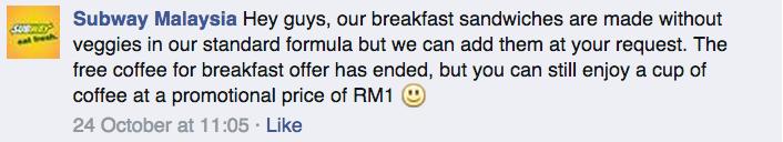 Subway Malaysia breakfast set