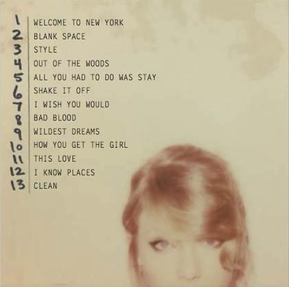 Taylor Swift 1989 Tracklist