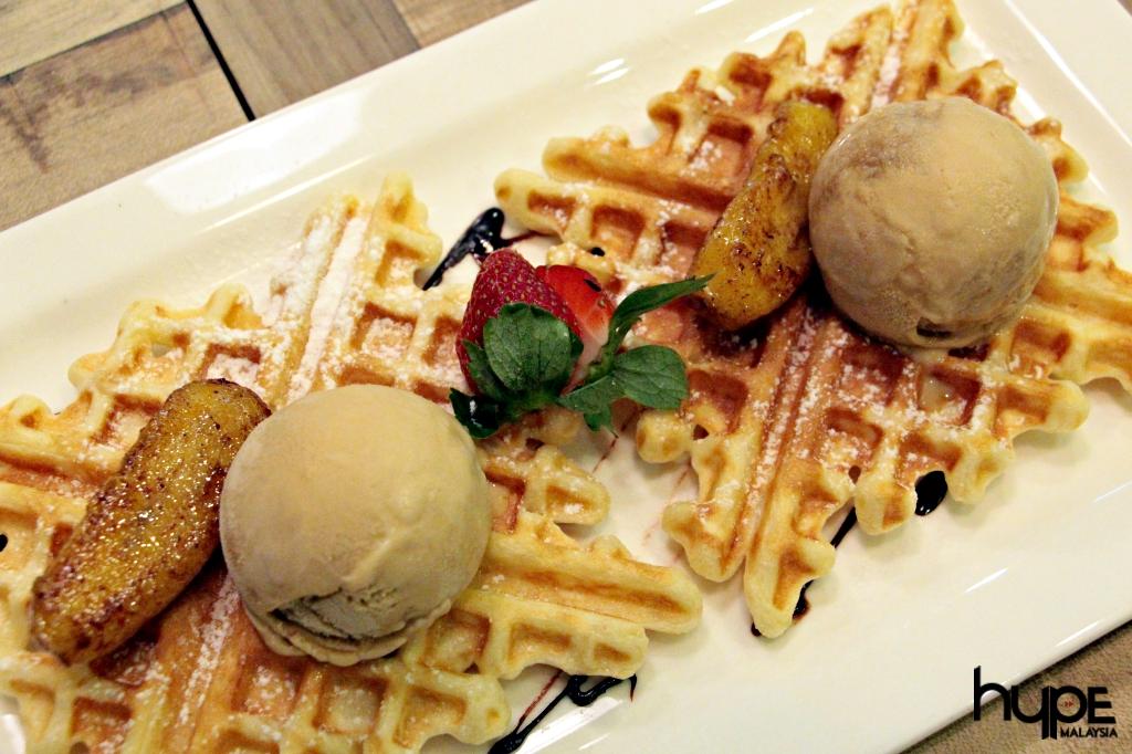 The Bites Cafe - Waffles topped with Gula Melaka Ice Cream