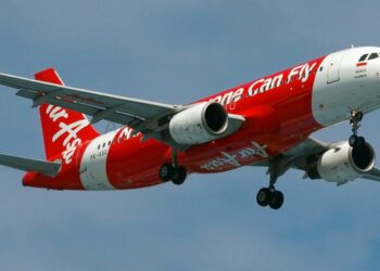 This photograph from April 2014 shows Indonesia AirAsia's Airbus A320-200 PK-AXC in the air near Jakarta Soekarno–Hatta International Airport.