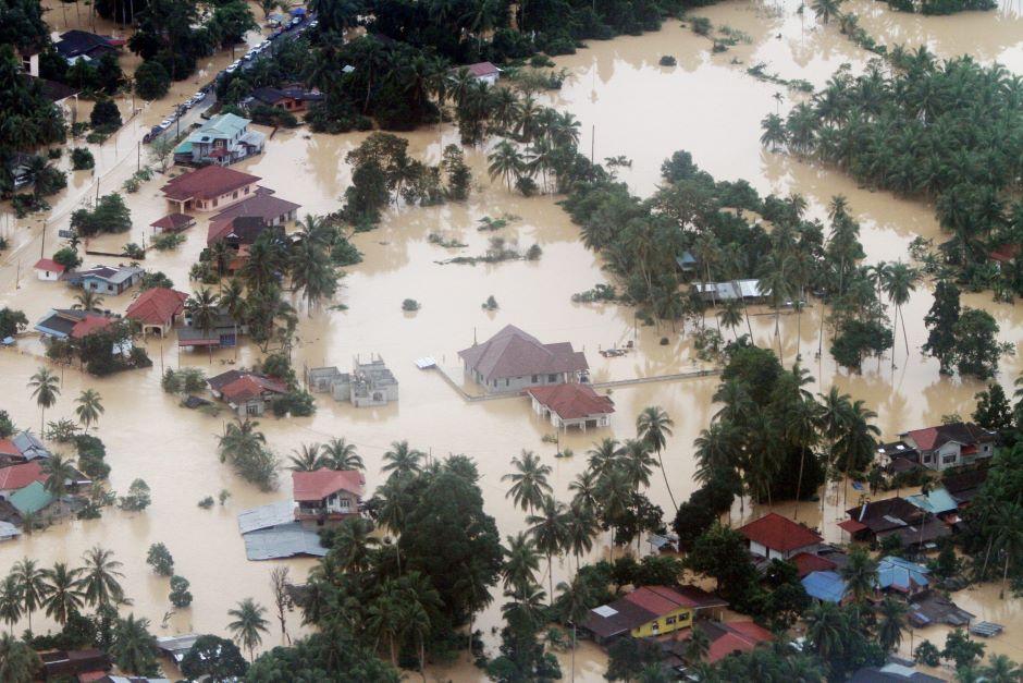 An aerial view of Pengkalan Chepa, Kelantan on Saturday, 27th Dec  (Source: The Star)