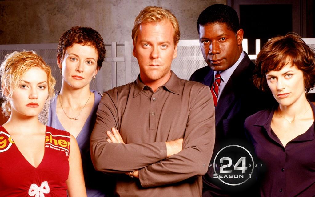 "Cast of ""24"" S1 including lead Kiefer Sutherland (Jack Bauer)"