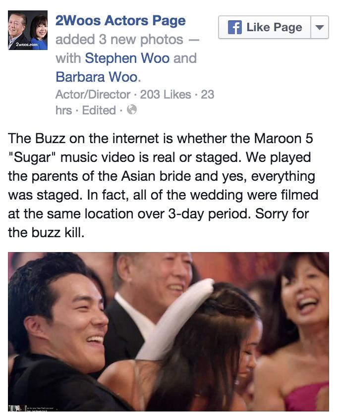 "#Maroon5: Band Didn't Really Crash Weddings In ""Sugar"" MV"