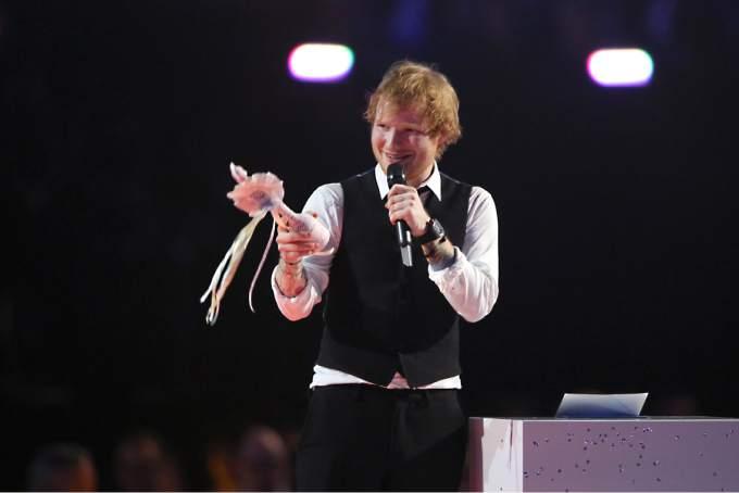 Ed Sheeran at the BRIT Awards 2015 (Source: www.pressdemocrat.com)