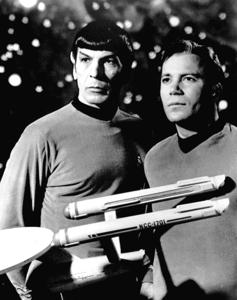 "Source: Leonard Nimoy & William Shatner as Spock & Captain Kirk from the ""Star Trek"" TV series in 1968 (Source: Wikipedia)"