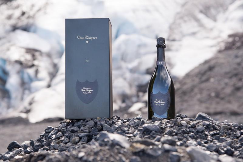 P2 box and bottle at Gigjokull Glacier - Dom Perignon P2 reveal Iceland