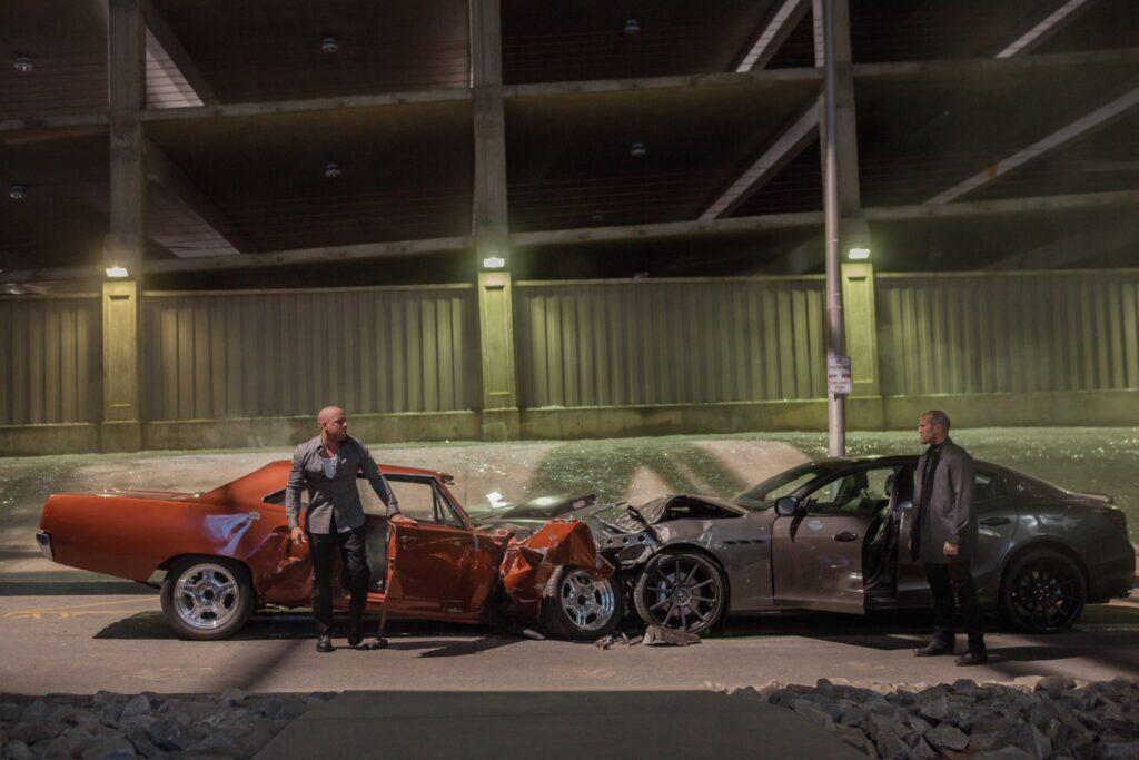 Furious 7 Car Crash Between Dom and Deckard