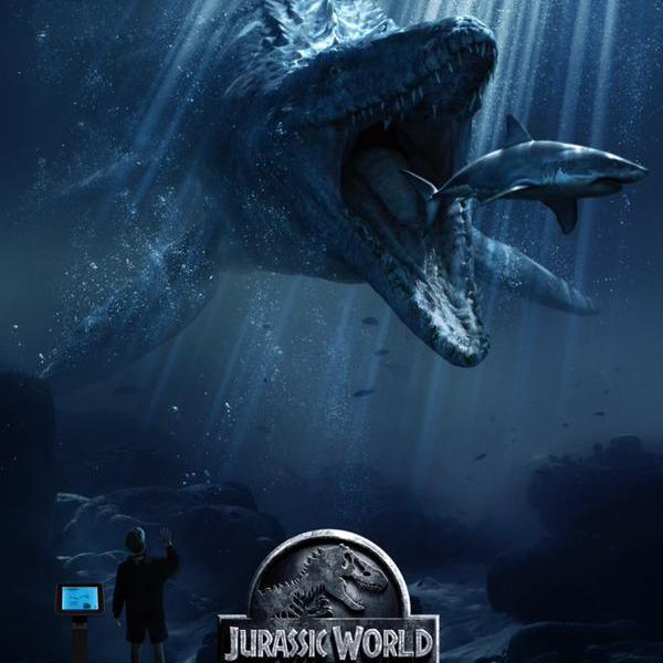 Water-dwelling, shark-eating creature called Mosasaurus.