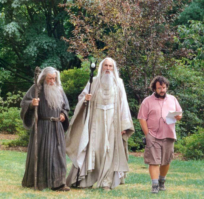 "Gandalf (Sir Ian McKellen), Saruman (Sir Christopher Lee), & ""Lord of the Rings"" director Peter Jackson on set"