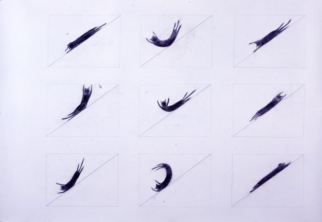 Japan Foundation 'drawing for cat slide' by Tam Ochiai (2007). Colour pencil, pencil on paper, 152.0×223.7cm. © Tam Ochiai. Courtesy of Tomio Koyama Gallery.