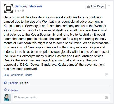 Source: facebook.com/ServcorpMalaysia