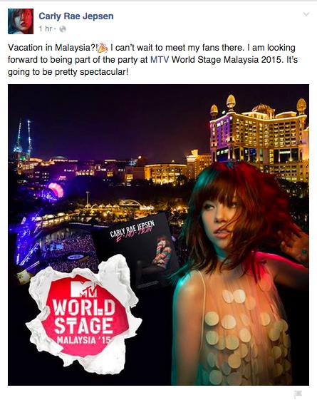 Carly Rae Jepsen MTV World Stage Malaysia 2015