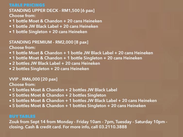 Beatship Zouk KL Table Prices