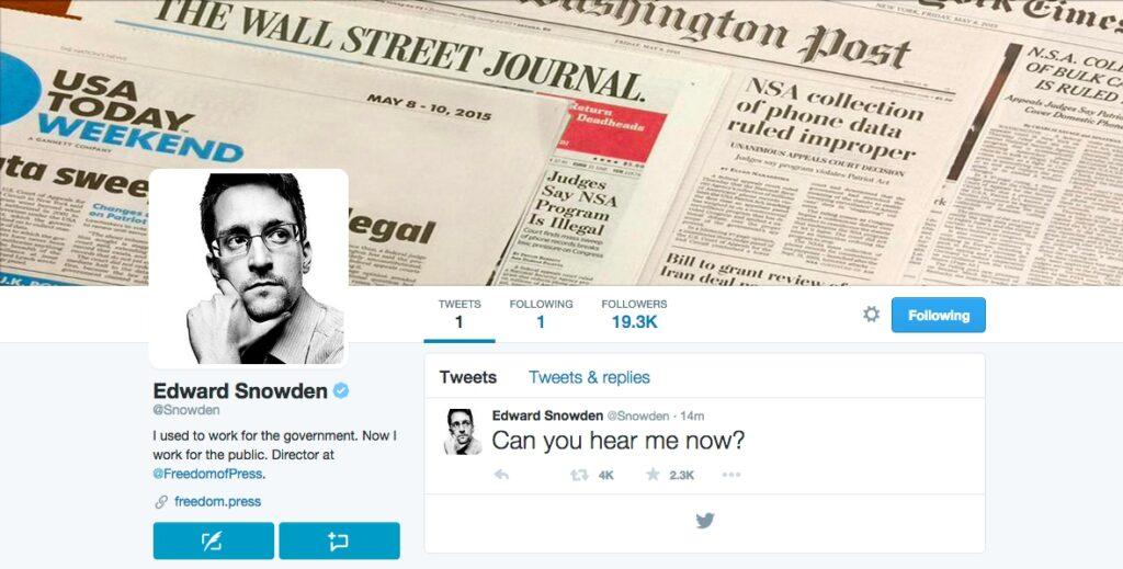Edward Snowden First Tweet