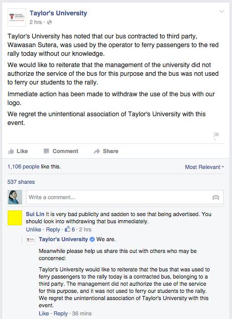 Source: facebook.com/TaylorsUniversityMY