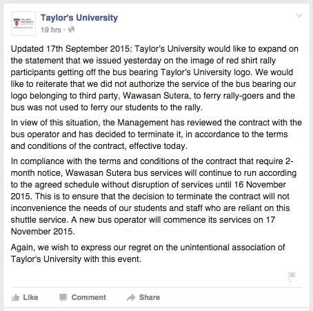 Taylor's University Wawasan Sutera Bus