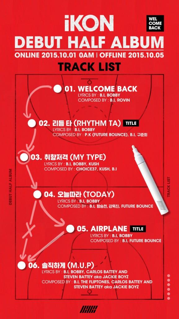 iKON – Debut Half Album Welcome Back Track List