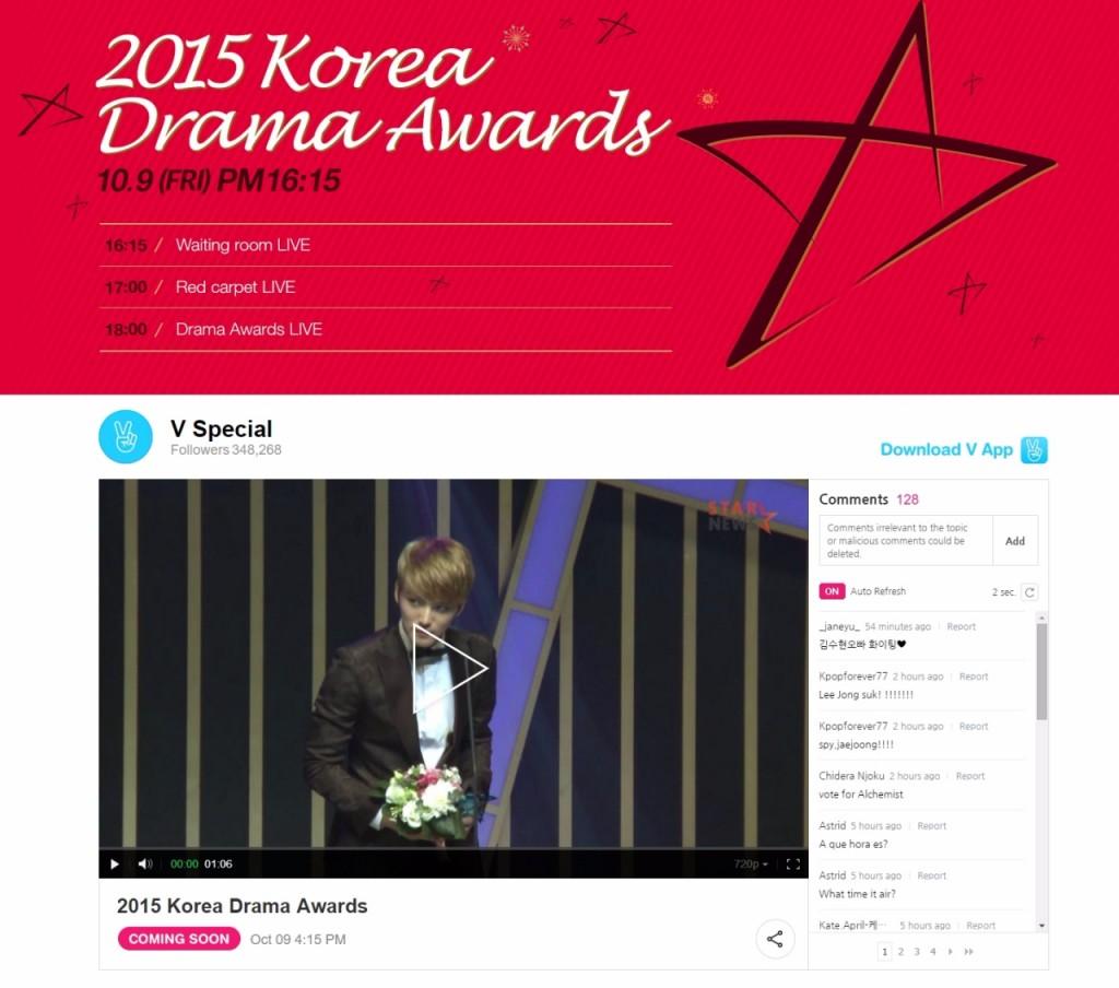 2015 Korea Drama Awards With V App