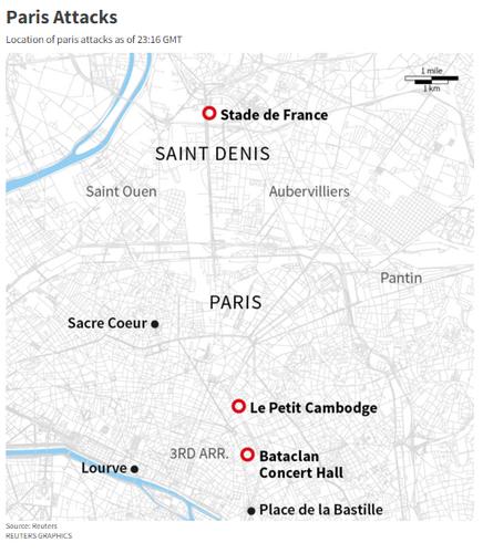 Location of Paris Attacks