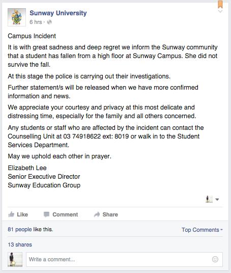 Sunway University Student Suicide