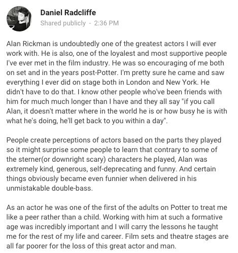 Daniel Radcliffe Alan Rickman