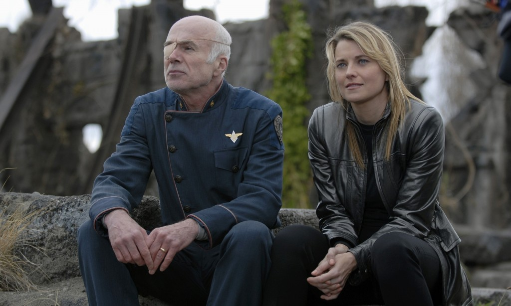 Critical smash … Michael Hogan anad Lucy Lawless in the Battlestar Galactica TV series. (Source: NBCUPhotobank / Rex Features)