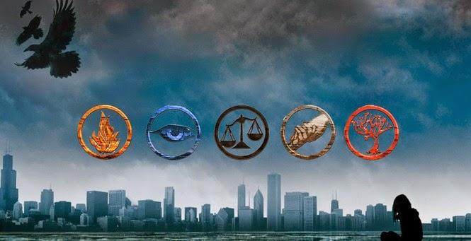 L-R: Dauntless, Erudite, Candor, Abnegation, Amity (Source: whiterosebaron.blogspot.com)