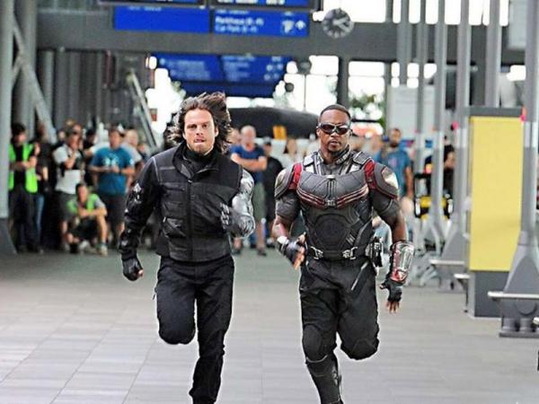 Winter Soldier (Bucky) & Falcon on set in Germany (Source: Bild.de)