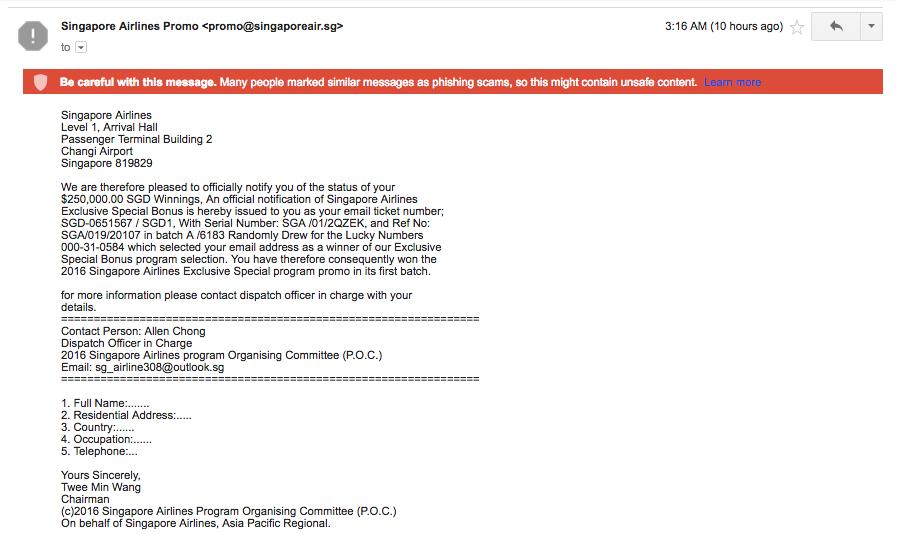 Singapore Airlines Scam